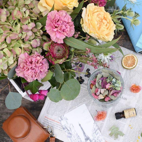 ドライフラワーへ変化を楽しむ 花束 ブーケ&グラス+アロマオイルセット