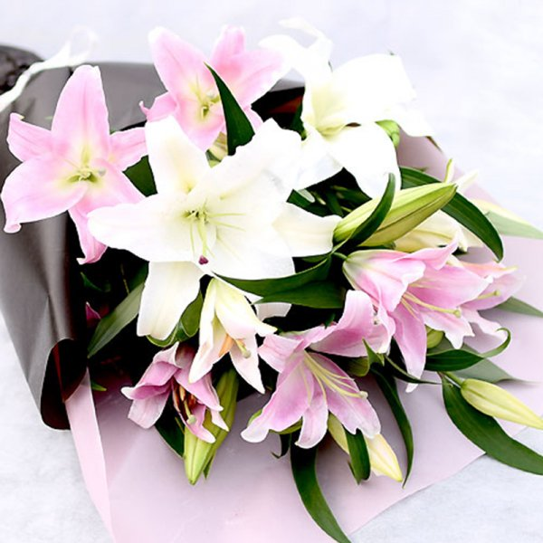 Casablanca and Pink Lily Bouquet