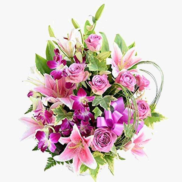 ギフト 百合 バラ 紫 アレンジ 『レオ』 パープル  ヴァイオレット ローズ 喜寿 古希 長寿 送別 お祝い