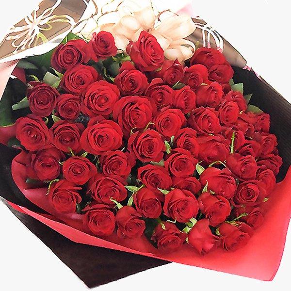 高級 赤バラ 60本の花束 送料無料 誕生日 女性 送別 歓迎 退職祝い 母 誕生日 お中元・サマーギフト    2019 祝い