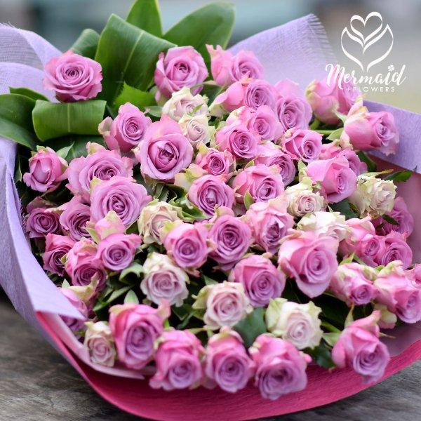 花 誕生日  結婚祝い 記念日 お礼 喜寿 パープルローズ バラ 母 金婚式 銀婚式 誕生日プレゼント