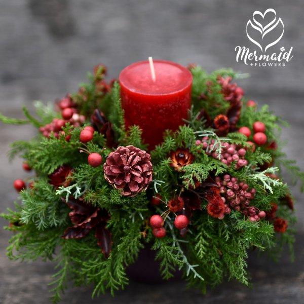 クリスマス フレッシュ&ドライフラワー・キャンドルアレンジ 「クライネスリヒト」