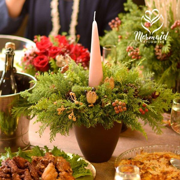 クリスマス キャンドル フレッシュ&ドライフラワーアレンジ 「リーベ・キャンドル」