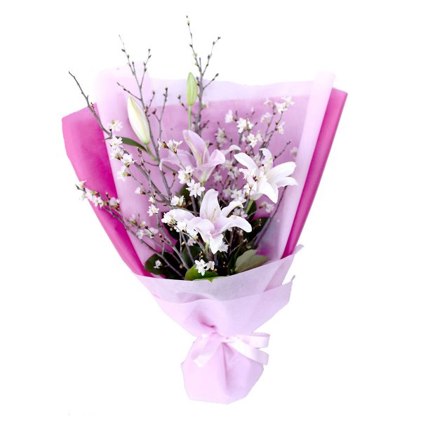 Cherry blossom& lily bouquet