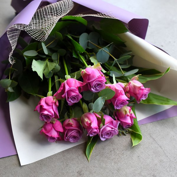 Bouquet of 10 purple roses