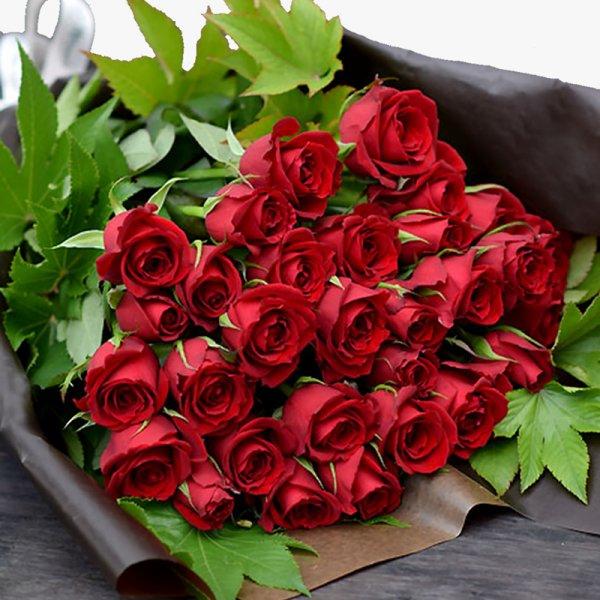 バラの花束 高級感溢れる 赤バラ30本のブーケ