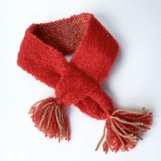 ワンちゃんとおそろいペアマフラー     草木染め、手織りでぜいたくに     (ワンちゃん用のみ・赤・Mサイズ)