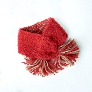 ワンちゃんとおそろいペアマフラー       草木染め、手織りでぜいたくに      (ワンちゃん用のみ・赤・Sサイズ)