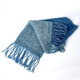 ワンちゃんとおそろいペアマフラー       草木染め、手織りでぜいたくに       (飼い主さん用・青)