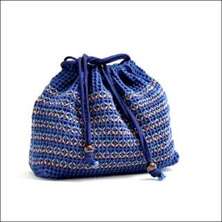 刺繍巾着袋|藍染め