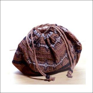 刺繍巾着袋|柿渋染め