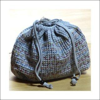 刺繍巾着袋|松煙染め