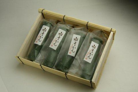 竹筒水ようかん小倉味2本・抹茶味1本、竹筒くずきり1本 4個セット竹かご入り