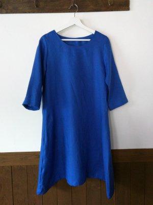 きれい色リネンのワンピース  ブルー