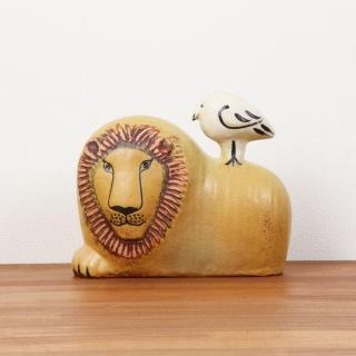 Lisa Larson Lion with Bird|リサ・ラーソン ライオンと鳥【北欧・置物・ライオン・送料無料】
