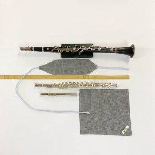 Chappy&CamCam 綿100% グレンチェックダブルガーゼ 手作りスワブとチーフセット C管フルート・B♭管クラリネット用