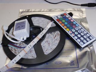 IP65 5050 防水 RGB 5メーター コントローラー付 白ベース 12VDC