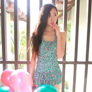 即日発送花柄☆緑☆かわいい☆パンツタイプビキニ☆ワンピース水着