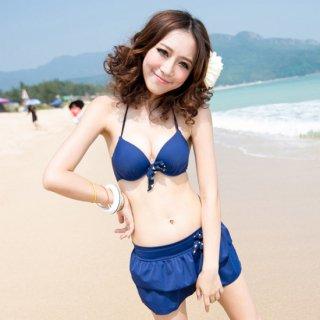 即日発送青☆かわいい☆ホルターネック☆フリルスカート水着☆4点セット水着