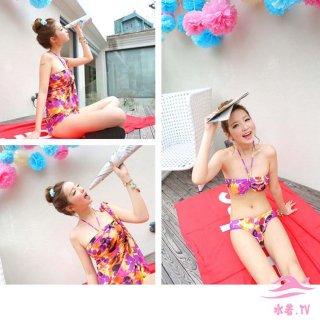 即日発送花柄☆紫☆カラフル☆ ホルターネック☆三角ビキニ☆3点セット水着