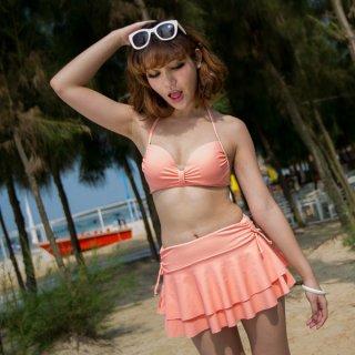即日発送かわいい☆無地☆オレンジ☆ホルターネック三角ビキニ☆レディーススカート水着☆3点セット水着
