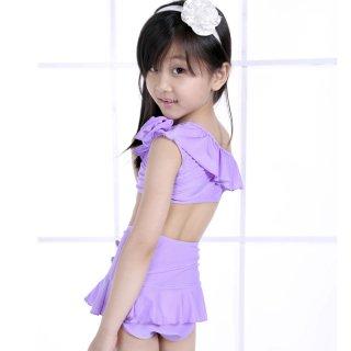 即日発送素敵★無地★紫★ホルターネックスカート水着★子供2点セット水着
