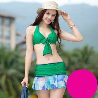 即日発送 緑、バラ色2色、3点セット水着 ワイヤー、パッド入る スカート水着 ホルターネック ビキニ 着痩せ 新作品