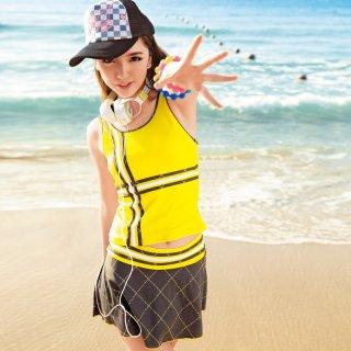 即日発送3色パッド入りの三点セットのスカート水着で谷間メークし、すごいレディース人気 運動感 着痩せ水着