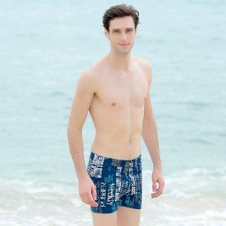 即日発送ネービーブルー大きいサイズ水着ファッション男性人気。四角形型かっこいいメンズ水着パンツ 上品