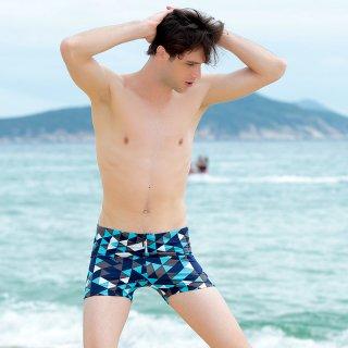 即日発送プロの平角男性大きいサイズのカラフル男性パンツ水着。乾燥性があり、伸縮性も良い四角形かっこいいメンズ水着