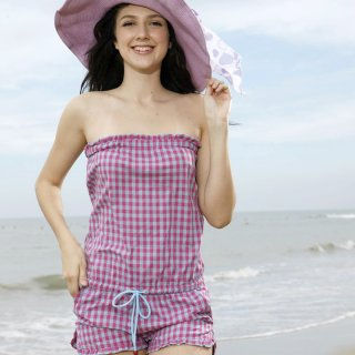 即日発送 チェック柄シンプル☆紫☆水着・ビキニトップベアのワンピース水着