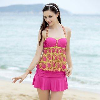 即日発送ホルターネック☆チューブトップ花柄☆ピンク☆ローズレッド☆三点セットスカート水着