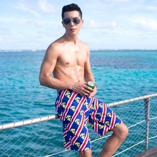 即日発送膝丈かっこいいメンズ水着☆ブルー錨柄☆ハワイ風☆男性用水着☆水泳パンツ☆ボトムス