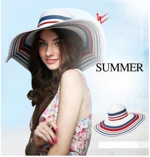 韓国風 ハット 麦わら帽子 レディース ボーダー柄 レッド&ブルーホワイト柄 日よけ帽子