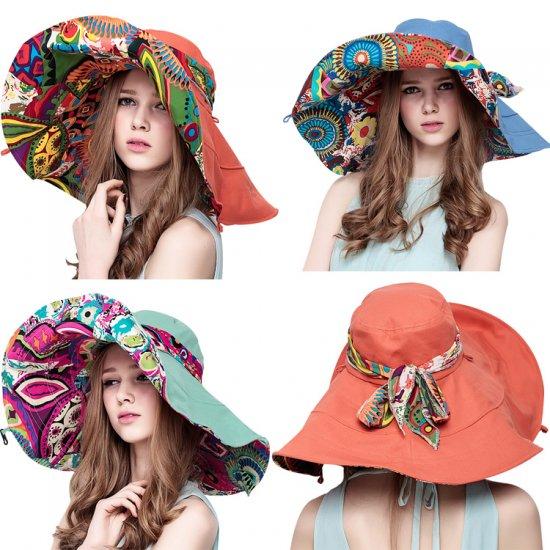 マルチカラー つば広帽子 ビーチ帽子 ハット レディースファッション 紫外線対策 日よけ帽子