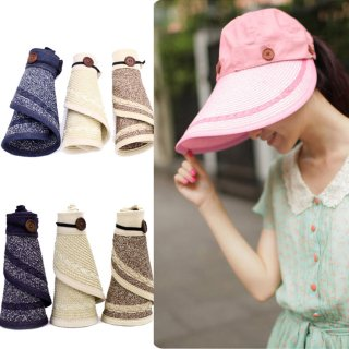 新作品 韓国風 折り畳み可能 広つばバイザー 麦わら帽子 紫外線対策 レディース日よけ帽子