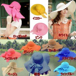 新作品 韓国風 無地 大きいリボン付 広つばバイザー 麦わら帽子 紫外線対策 レディース日よけ帽子