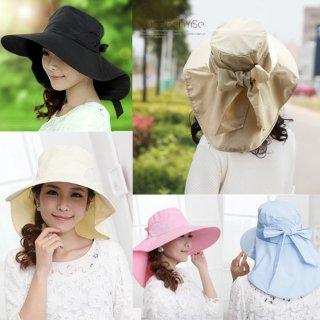 新作品 韓国風 無地 大きいリボン付 広つばバイザー ロングケープ付 紫外線対策 レディース日よけ帽