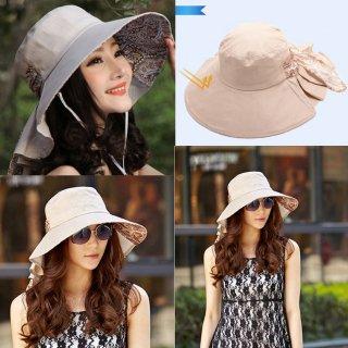 新作品 韓国風 ペーズリ柄 ハンド描く 広つばバイザー 紫外線対策 レディース日よけ帽子 uvカット