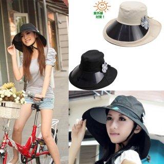 新作品 韓国風 花柄付 広つばバイザー 紫外線対策 レディース日よけ帽子 uvカット キャスケット