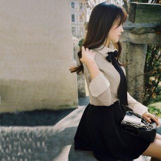 2015新作Aラインフレアスカート、可愛いボトムス。ブラック 大人っ気スカート ファッション