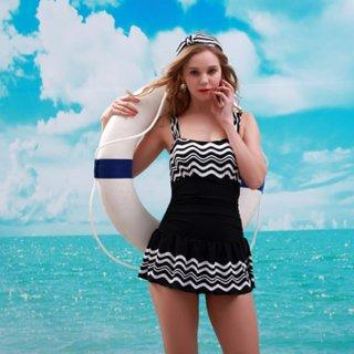 新作品 ボーダー柄 スカート付 パッド付 レディースワンピース 水着 レディース水着 ミズギ オシャレビキニ 女性ワンピース オシャレ度アップ