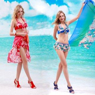 ファッションデザイン大花柄ビキニ3点セットペア水着 メンズパンツ水着 ペア水着 おしゃどアップ 可愛い水着