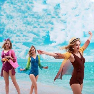 前3色 ファッション フェミニン 三角ビキニ+ブラウス レディース 水着 女子力アップ パッド入り 2点セット