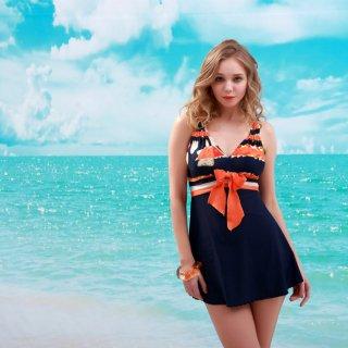 深�デザイン 上品 大きいサイズ ワンピース レディース水着 可愛さ満載 オシャレ度アップ レディース人気