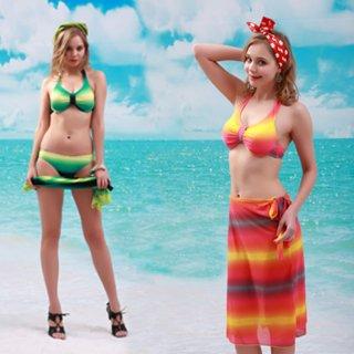 レディース 水着 新作品 2色のホールターネック パレオ付 ビキニ3点セット オシャレ満載 鮮やかカラー