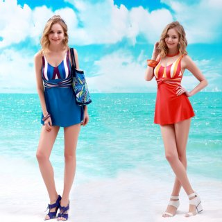 レディース水着ピンクとブルー2色最新デザインの大きいスカートワンピース水着