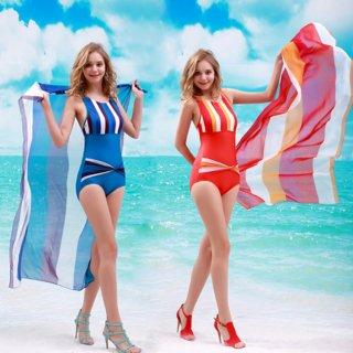 ペア水着新作品三角式パレオ付ワンピース水着ストライプ柄ファッションレディース水着 フェミニン女性
