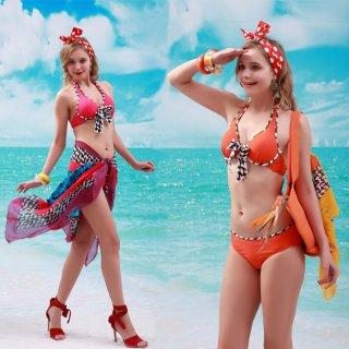 新作品 最新デザインのオレンジピンクビキニ+パレオレディース水着 三角ビキニ 3点セット チェック柄 大きい胸 リボン付