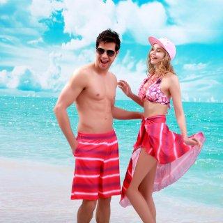 ファッションデザイン 新作ビキニホールターネック綺麗柄 パレオ付 オシャレアップレディース水着